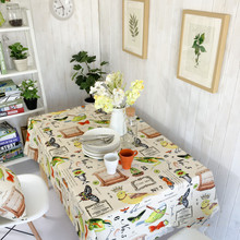 Vintage Table Tablecloth multifunctional design dustproof linen printing party wipe flowers cloth bird butterfly art covers XM