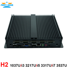 Mini pc fanless industrial pc embedded computer low power rugged computers Celeron 1037U i5 3317u barebone pc with 6*RS232 COM