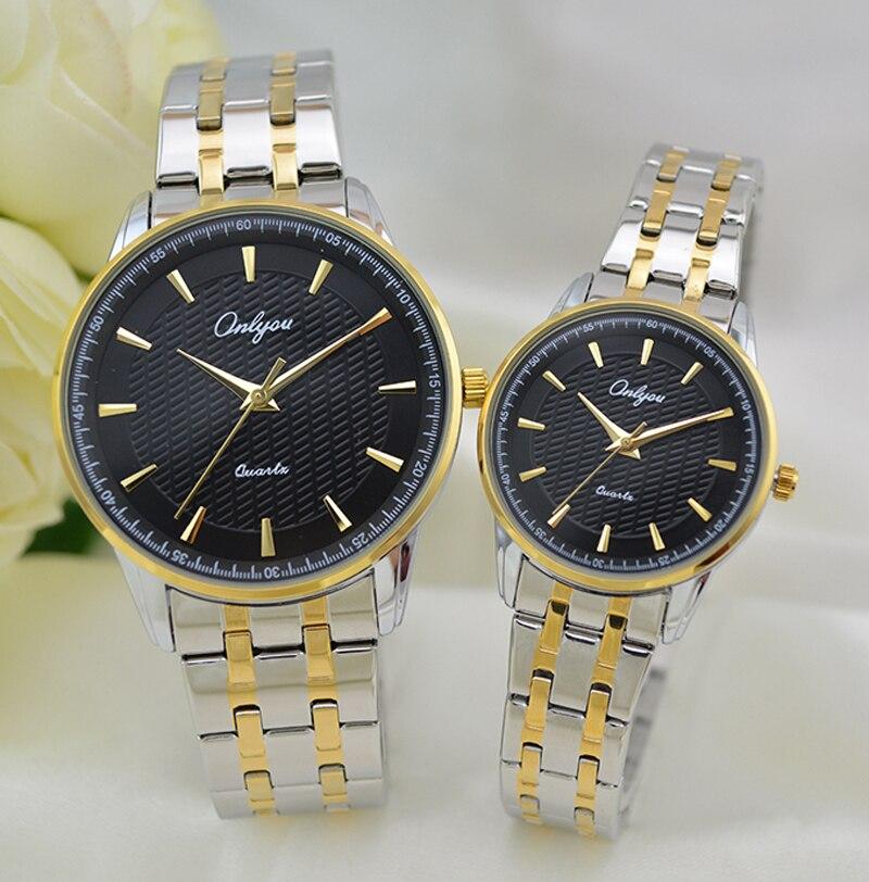 Onlyou Luxury Brand Quartz Watches Women Men Business Watch Stainless Steel Watchband Ladies Formal Wristwatch Gold Watch 8883<br>