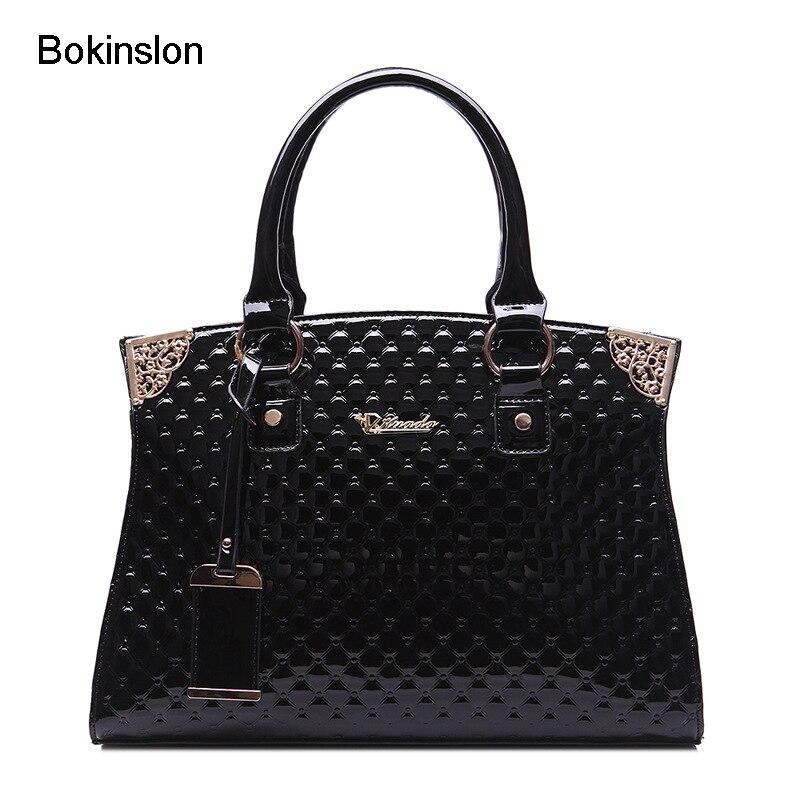 Bokinslon Retro Bags Woman PU Leather Classic Female Handbags Bags Fashion Solid Color Women Shoulder Bags<br>