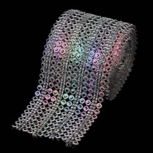1Yard(3ft) x 12cm Rainbow Color Diamond Mesh Crystal Sewing Rhinestone Ribbon Trim for Wedding Party Decorations DIY Gift Wrap(China)