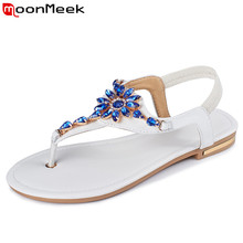 MoonMeek Plus size Genuine leather women sandals solid color rhinestone flat summer sandals ladies flip flops fashion shoes(China)