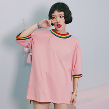 YouGeMan 2017 Woman Summer Tshirt Tops Korean Harajuku BF Rainbow Striped Neckline White T-shirt Women Casual Short Sleeve Tops
