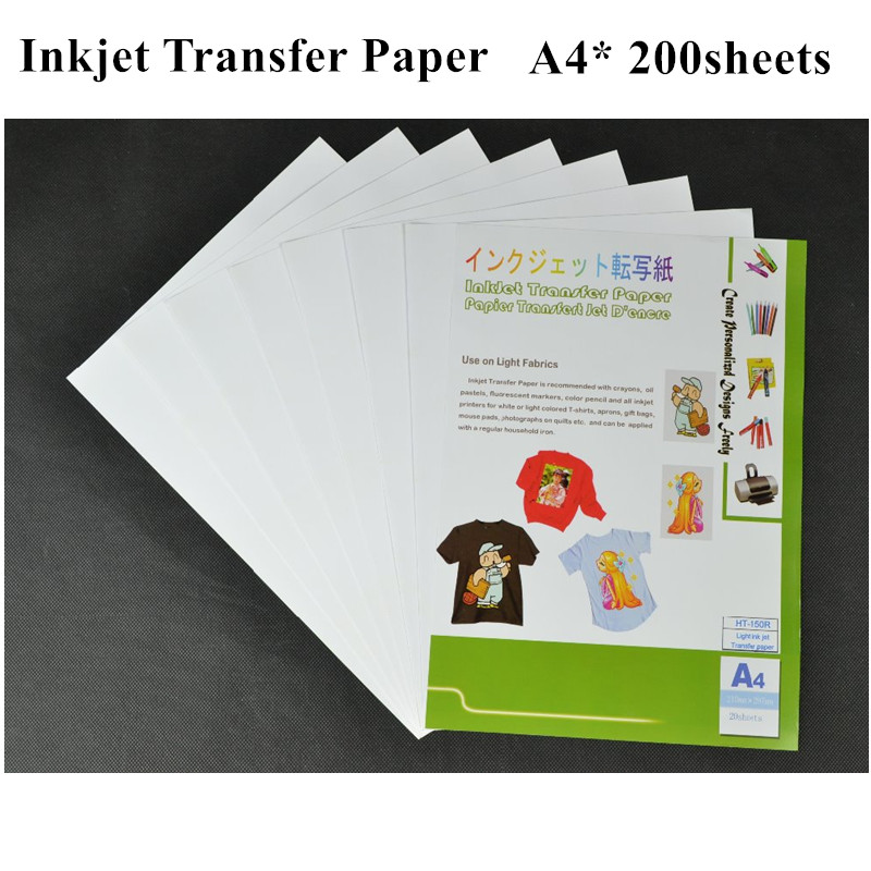 (A4*200pcs) Wholesale Inkjet Heat Transfer Printing Paper Only for Light Fabric T shirt Transfer Paper HT-150R(China (Mainland))