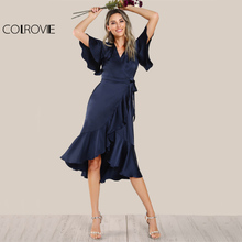 COLROVIE Elegant Ruffle Navy Satin Dress Women Wrap Tie Waist Sexy Midi Party Dresses Fall 2017 Fashion New V Neck A Line Dress(China)
