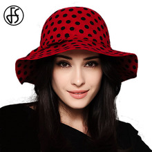 FS New Winter Polka Dot 100% Wool Felt Bowler Hat Women Fashion Wide Brim Orange Red Fedora For Ladies Church Hats Sombrero(China)