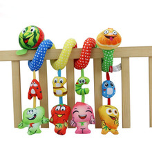 Happy Monkey Newborn fruit and vegetable Baby toys rattles 0-12 months music bed Hanging Educational Baby plush rattles toys(China)