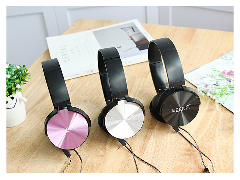 WPAIER KEEKA OM4 Metal Candy colors Student headphones fashion Subwoofer headset wiht Microphone Universal Exquisite gift box