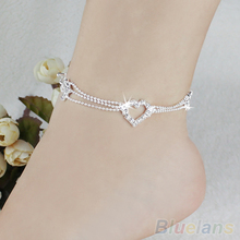 New Charm Silver Plated Bead Anklets for Women Ankle Bracelet Chain Crystal Foot Jewelry  1RVK