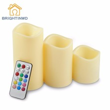 3Pcs/Lot Changed Color Remote Control Electric Candles Flameless LED Pillar Candle Cup Tea Light for Wedding Birthday Home Decor