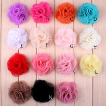 "(30pcs/lot)2.4"" 15 Colors Newborn Mini Crochet Shabby Chiffon Flower Accessoreis Fashion Tulle Mesh Flowers For Kids Headband(China)"