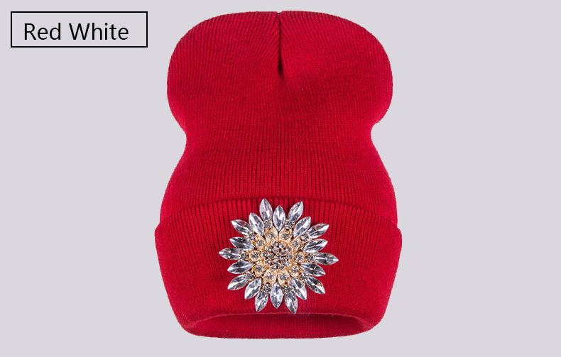 Ralferty 2018 Winter Hats For Women Knitted Luxury Flower Crystal Beanies Hat Female Skullies Caps Black Streetwear Gorras Gorro 4