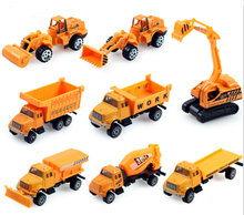 8pcs/set 2016 New Alloy & Plastic Toy Engineering Car Models Dump-car Dump Truck Artificial Model Classic Toys For Boy Child