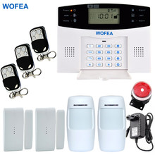 WOFEA Russian English Spanish France voice Smart Home Security GSM Alarm System Remote Control by SMS & Calling with LCD keypad(China)