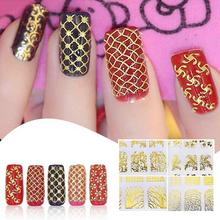 1Set Gold 3D Nail Art Stickers Decals Patch Metallic Flowers Designs Stickers Nails Art Decoration Tips Salon Accessory Tool A6(China)