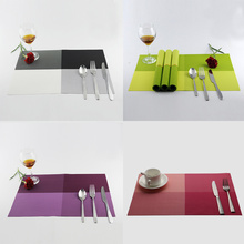 2 Pcs New Coaster Chromatic PVC Stripe Mat Food Table Plastic Weaving Insulation Placemats Sale HG99