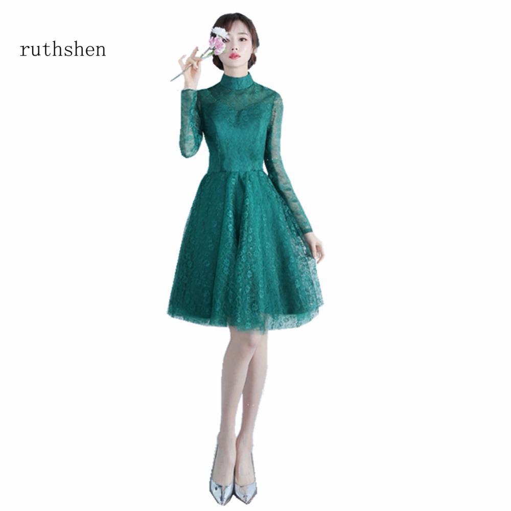 ruthshen Green Vestido Cocktail Party Dress Short Formal Special Occasions  Dress Luxury Full Sleeves Short Party Dresses 2018 67d424418432