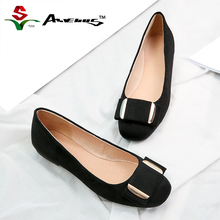 Anvenus Genuine Leather Flats Women Flat Shoes Brand Woman Ballet Soft Heel Ballerina Flats Winter Warm Suede Lady Loafers Black(China)