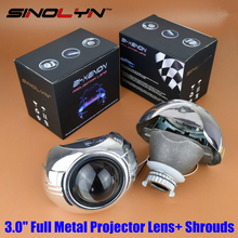 SINOLYN Car Styling Automobiles Metal Q5 3.0 inch HID Bi xenon Headlight Projector Lens W/ Shrouds Mask, Use D2S D2H Bulbs Lamp