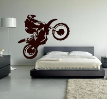 Motocross Vinyl Wall Decal Motorcycle Moto Wall Art Home Decals For Living Room Bedroom Decoration Dirt Bike Sport Poster A726(China)