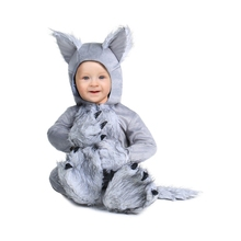 Adorable Infant Wolf Costume Animal Theme Baby Halloween Party Dress-Up Comfortable Hooded Jumpsuit with Attached Hand and Foot(China)