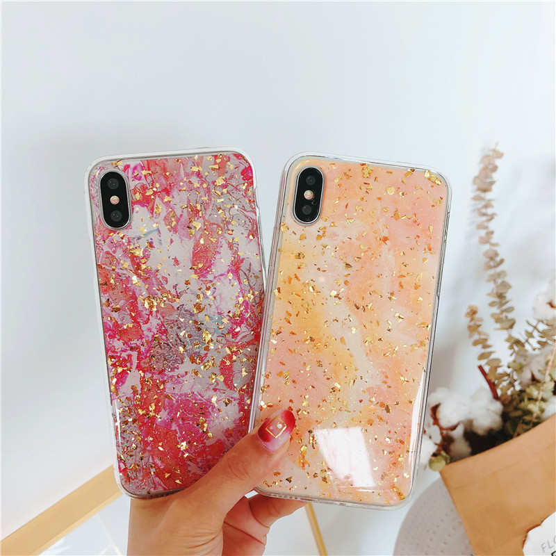 Coque Funda Gold Foil Phone Case iPhone X 8 7 6 6S Plus Case Transparent Luxury Bling Silicone TPU Marble Cover 7Plus 6Plus