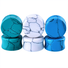 2PCS Stone Ear Plugs Tunnels Piercings Gauges Ear Expanders Double Flared White Blue Green Stone Ear Plugs Pircings Body Jewelry(China)