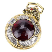 Vintage Gold Pocket Watch Men Evil Dragon New Golden Tone Case Big Red Crystal Retro Red Garnet Inset Luxury Necklace Xmas Gift
