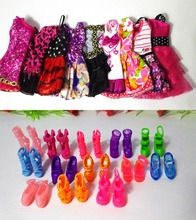 12 Pcs = Handmade Party 5  sets Clothes Fashion Mixed style Dress + 7 Pair Accessories Shoes for Barbie Doll Best Gift Girl Toys