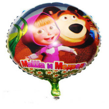 XXPWJ Free shipping Aluminium balloons round shape Martha and bear balloons for party cartoon ballons free shipping I-096(China)