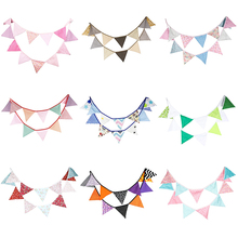 3.2M 12Flags Cotton Fabric Bunting Pennant Banners For Kids Birthday Party Baby Shower Decoration Wedding Party Supplies