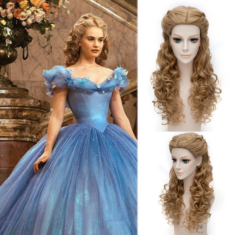ECVTOP 3 Kinds Movie Princess Cinderella Cosplay  Wigs 26 Inch Cosplay Wigs costume Curly Brown Wig<br><br>Aliexpress