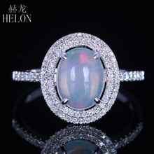 HELON Solid 10K White Gold Milk White Opal Oval Cut 9x7mm Pave Natural Diamonds Engagement Wedding Fine Ring Women's Jewelry(China)