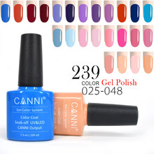 CANNI LED Gel Polish 7.3ml 240 Colors 025-048 Solid Blue Red Bottle Color Matched Nail Art 30917 Soak off UV LED Gel Nail Polish(China)