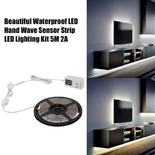 IP66 Waterproof Hand Wave Sensor LED Strip Lamp Dimmable Cabinet LED Lighting 5M 300LED 2A White/ Warm White US Plug Free Ship