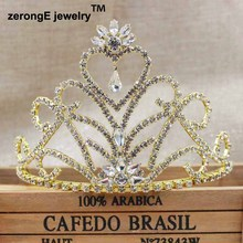 3.8inch pageant Wedding Tiara Crowns gold heart dangling Tiara crown Headband for party /masquerady event/carnival costume