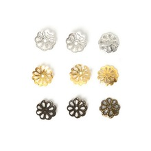 Wholesale Approx 900pcs Rhodium/Gold/Antique Bronze Color Hollow Flower Iron Bead Caps Jewelry Finding 9mm