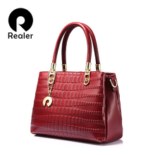 REALER brand women genuine leather handbag female casual tote bag animal prints top-handle bag fashion crossbody bag Black/Red(China)