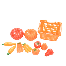 Doll Fruit Vegetables Basket Set for Barbies Dolls Vegetable Fruit Storage Plastic Kitchen Dollhouse Miniature Kids Toys 11 Pcs(China)