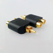 2pcs  AV Audio Connector One Into Two RCA Connector Male To Female Audio Video Adapter Headphone Plug Gold-plated