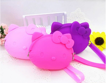 Silicone purse kitty cartoon super adorable with hand rope soft coin bag