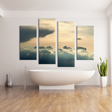 4 Panel sunset sky HD Wall painting print on canvas for home decor ideas paints on Wall pictures art No framed canvas artwork