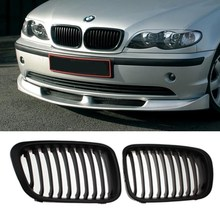 MATTE BLACK GRILLE GRILL for BMW E46 1998-2001 4 DOOR 320i 323i 325i 328i 330i 1998-2001