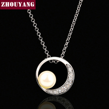 ZHOUYANG Top Quality ZYN394 Imitation Pearl Necklace Silver Color Fashion Jewellery Nickel Free Pendant Crystal