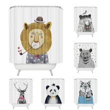 Wholesale Custom Cartoon Animal Shower Curtain Polyester Fabric Waterproof Bath Curtain 180CM Shower Curtain Bath Curtain