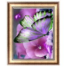 Butterfly flowers Diamond Embroidery 5D Diamond DIY Painting Cross Stitch Crafts 29*25cm -Y102