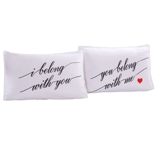 Couples romantic love bedding pillowcases 2pcs 100% polyester fabric brand new high quality easy to wash English letters print