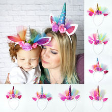 Halloween Party Baby Girl Women Family Matching Headwear Flower Unicorn Horn Head Hair Headband Party Fancy Dress Birthday Gift