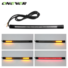 Onever Motorcycle Light Bar Strip Tail Brake Stop Turn Signal License Plate Light Integrated 3528 SMD 48 LED Red Amber Color