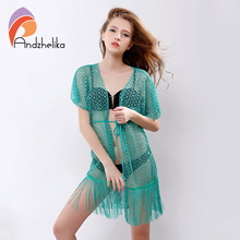 Andzhelika 2016 Summer Sexy Womens Beach Cover Up Hollow Lace Crochet Beachwear Tassel Women Swimsuit Beach Cover Up AK67161(China)